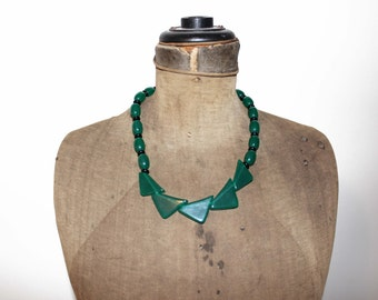Vintage Green Bead Necklace - Green and Black Bead Necklace
