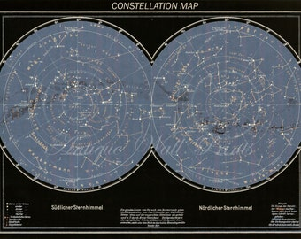 LARGE Northern and Southern Constellations Star Chart Print in black and blue