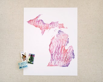 """Hand lettered Michigan art print, watercolor in pink, purple / """"if you seek a pleasant peninsula, look about you"""" / Christmas gift"""
