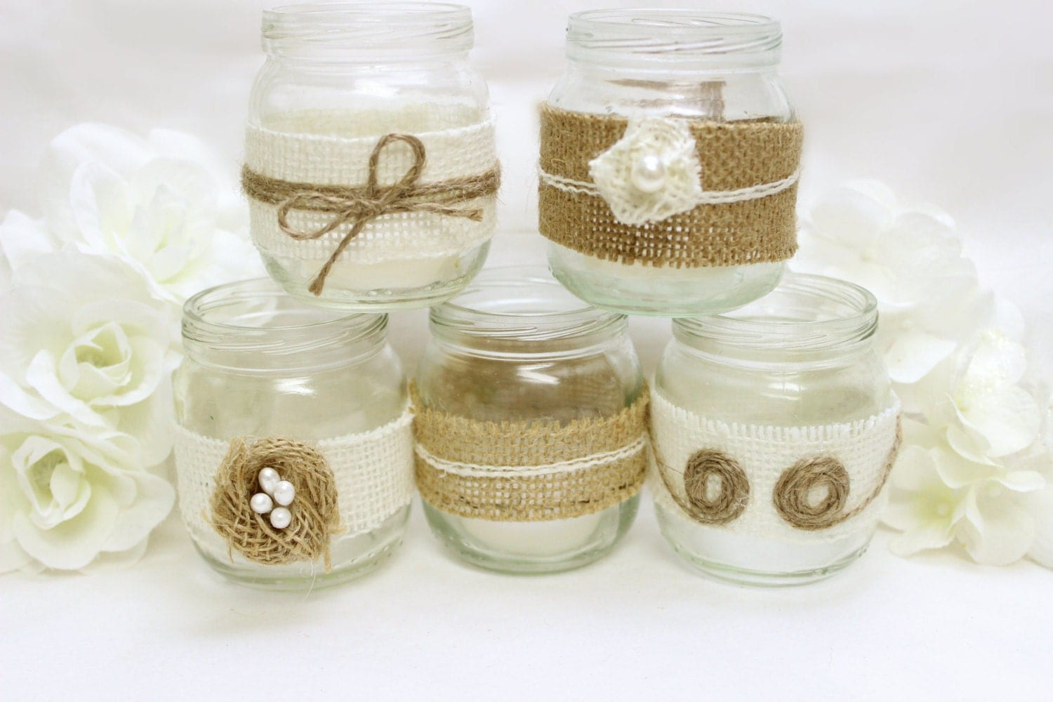 Burlap mason jar western wedding decorations burlap flowers - Decoration pot de confiture ...