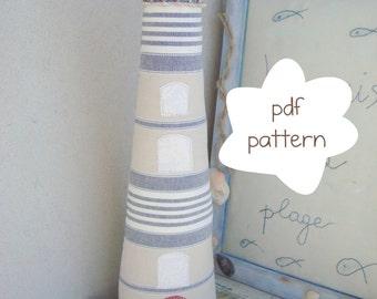 Lighthouse Pattern -  fabric lighthouse pattern - lighthouse pdf pattern- lighthouse sewing pattern- seaside pattern - beach style pattern