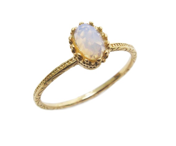 Valentines Sale - Oval Opalite gold ring. gift for her, gold ring, unique ring, trendy jewelry, gift idea, everyday jewelry.