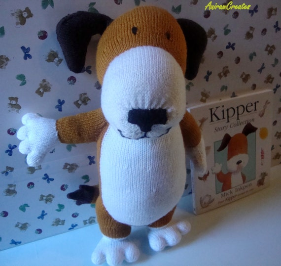 Hand knitted Kipper soft toy with Story Book Teaching by MooMush