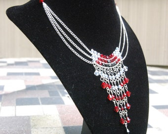 Swarovski Crystal Fringe Dangle Drape Choker Necklace in Black, Red and Clear