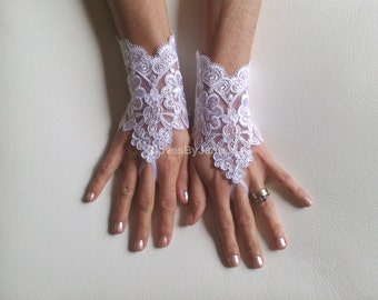 White Wedding gloves  free ship bridal gloves lace gloves fingerless gloves french lace gloves