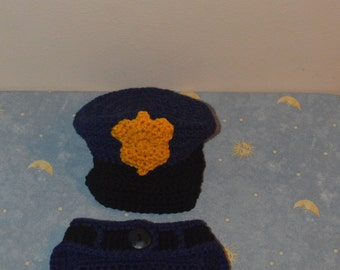crochet policeman outfit-crochet outfit-policeman in navy-policeman baby outfit hat and diaper cover set-photography prop-halooween costume