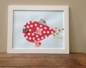 Framed Fabric Fish Picture