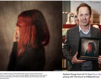 fine art photograph. conceptual photograph. 12x12 portrait. woman sensual, dark, red balck 'The Touch'
