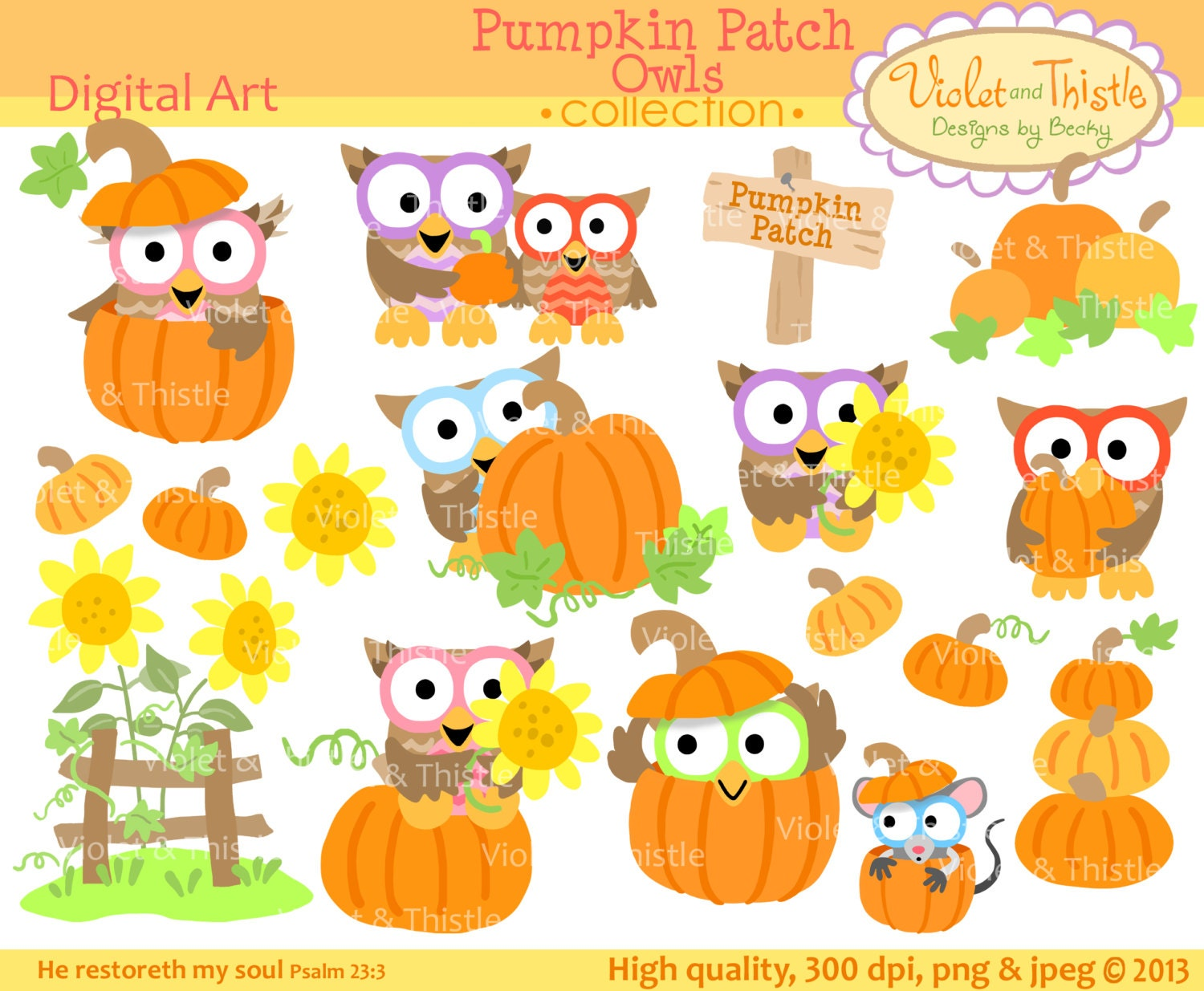 Harvest Owl Clipart Clip Art Fall Line Pumpkin Patch Sunflower Thanksgiving Commercial Use