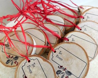 12 Gift Tags Rustic Birch Slice
