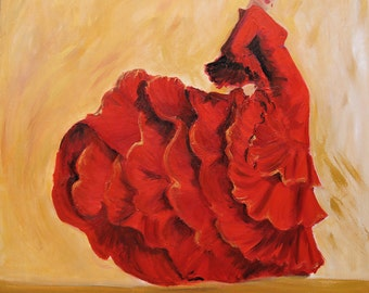 Flamenco Dancer Art Print on Paper- Flamenco dancer in red dress painting  - Earth Tone Back Ground art.