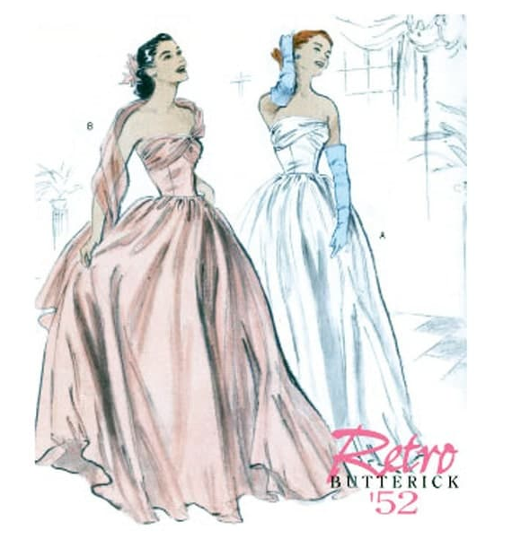 Draped Gown Pattern: Misses EVENING Ball Gown Strapless Wedding Dress Boned Draped