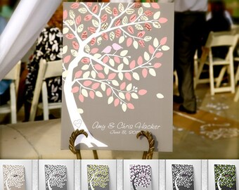 Wedding Tree Guest Book -  Wedding Registry Bridal Gift - Modern Guestbook 100-150 Signatures - On Canvas - PROMOTION
