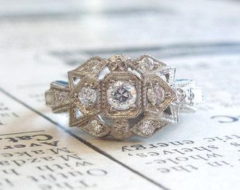 "Art Deco Style Diamond ""Zig Zag"" Ring in Platinum - White Gold - Yellow Gold - Rose Gold"