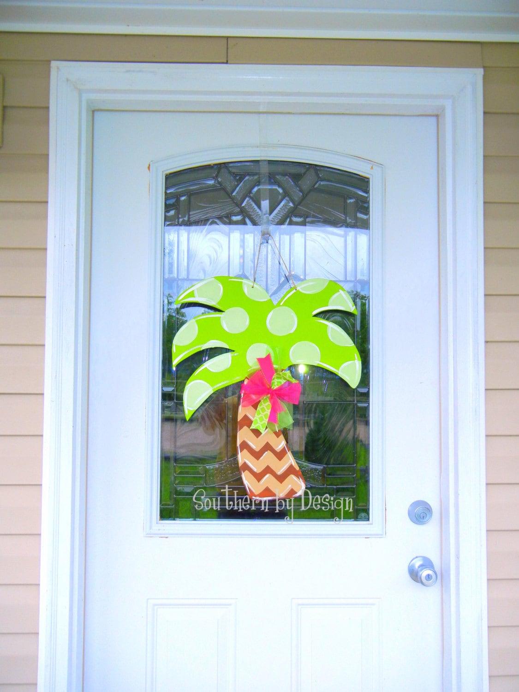 Summer Palm Tree Large Wooden Door Hanger Door Decor