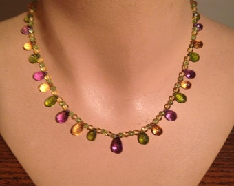Necklace of tri-color gemstones - Peridot, Amethyst and Citrine