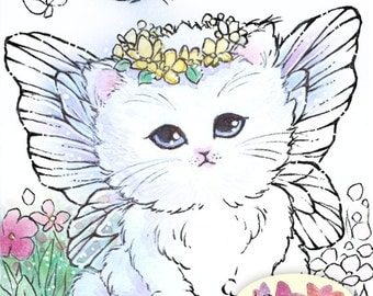Digital Stamp - Instant Download - Fairy Kitten - digistamp - Kitten with Wings - Animal Line Art for Cards & Crafts by Mitzi Sato-Wiuff