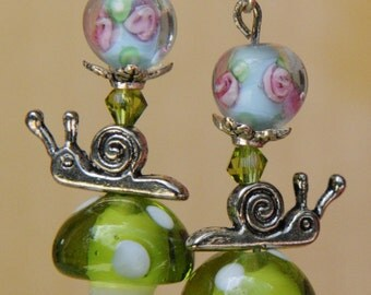 Alice in Wonderland earrings. Alice's magic mushrooms. Mushroom earrings. Snail earrings. Lampwork earrings. Whimsical earrings.