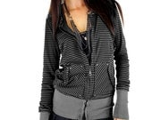 Lightweight Grunge Gray and Black Yarn Dyed Stripe Hoodie