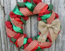 Red and Green Burlap Christmas Wreath, Holiday Wreath, Burlap Wreath, Holiday Decor, Red and Green Wreath, Wreaths, Natural Burlap Bow