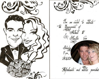 Wedding or Engagement Invitation Card - Personalized Caricature with stylish writing. Save the date cartoon