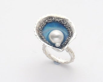 Silver Shell Ring With Akoya Pearl - Akoya Pearl Engagement Ring - Shell Pearl Ring