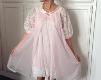 Pink Nightgown and Robe - Lingerie