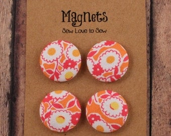 Fabric Covered Button Magnets / Just Peachy Magnets / Strong Magnets / Refrigerator Magnets / Fridge Magnets