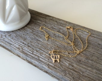 Gold Llama Pendant on a Gold Chain Necklace