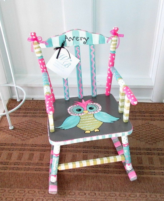 Personalized Painted Owl Child Rocking Chair Made to by