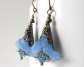 Blue Flower Earrings Lucite Flower Jewelry Romantic Floral Dangle Earrings Beaded Jewelry Blue Earrings