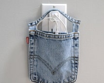 Cell phone charger holder, wall charging station, Levi's, docking station, phone charging pouch, cell phone charger