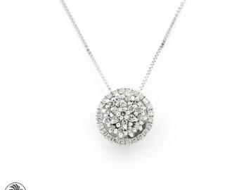 Etsy your place to buy and sell all things handmade single halo diamond pendant diamond cluster pendant diamond necklace round diamond pendant with aloadofball Choice Image