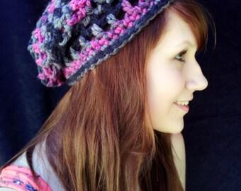 Black Raspberry Adult-Sized Crochet Slouchy Hat - Taking Orders
