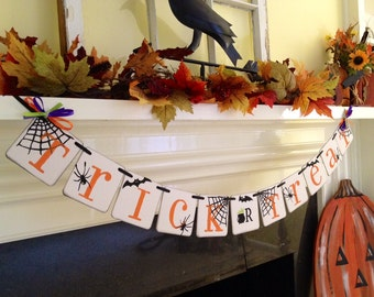 Halloween Decoration Trick Or Treat Banner Happy Halloween Banner Fall Decoration Garland Photo Prop Halloween Party Decor