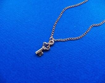 Gold Key Necklace, Chain Jewelry, Key Charm, Sweet 16