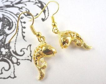 goldfish Earrings vintage style bronze maritime