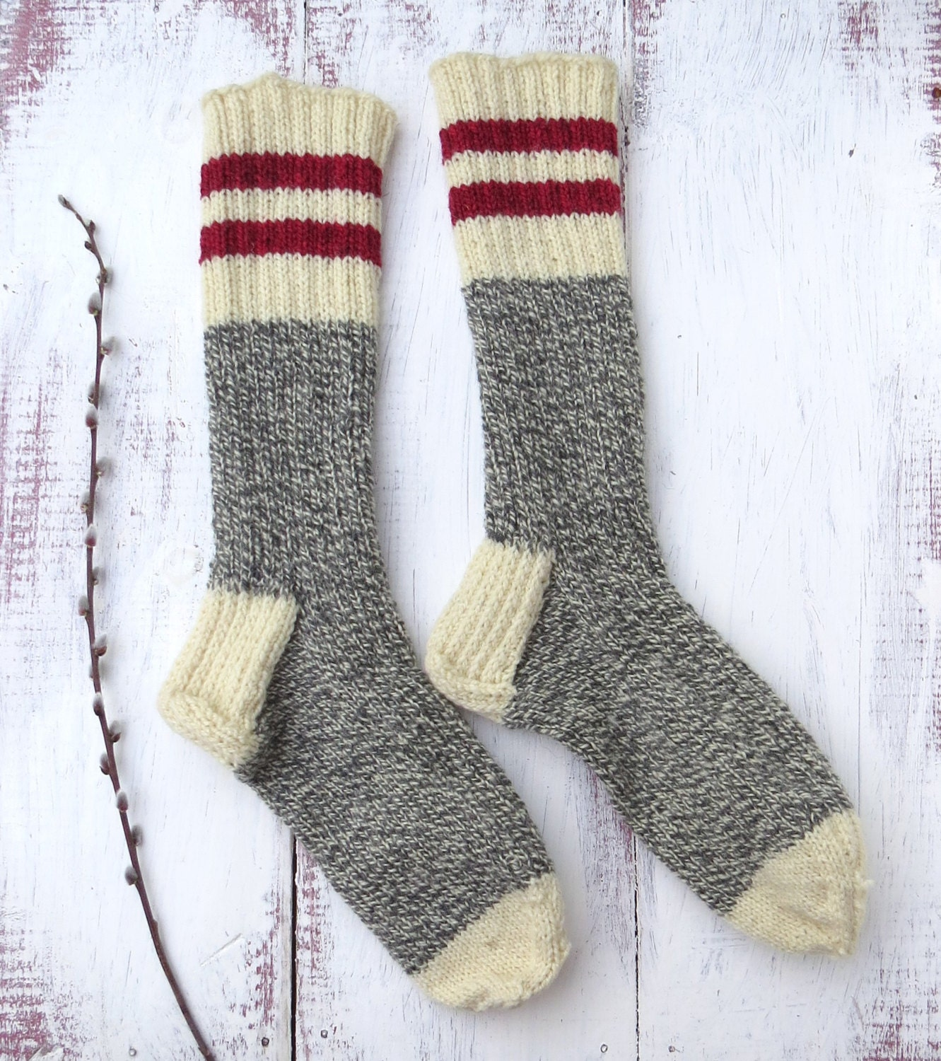 Knitting Works : Knit wool socks hand mens grey white twist with red