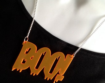 Halloween light reflective perspex..'Boo!'..necklace
