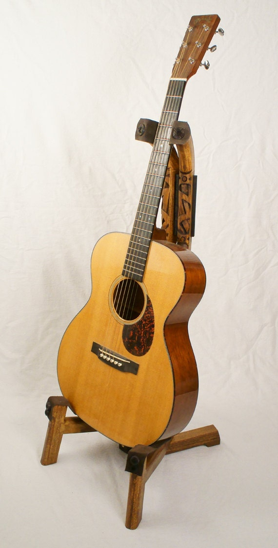 Handcrafted Wooden Guitar Stands ~ Handmade wood guitar stand with hand carved strap detail