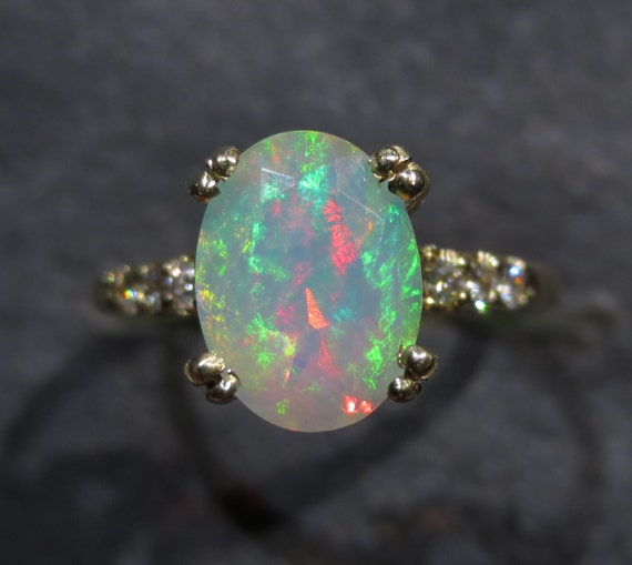 Items Similar To Opal Ring Exquisite Braided Opal: Items Similar To Genuine Ethiopian Opal Ring W/ Diamond