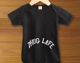 Thug Life Tattoo One Piece Bodysuit Shirt