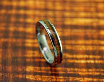 Dome Tungsten Carbide with Koa Wood Inlay Ring 4mm - Wedding band - Engagement Ring - Promise Ring - Father's Day Gift Idea