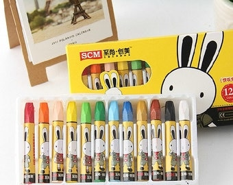Set of 12 Assorted colors Art Oil pastels Crayon in storage box, Kids 12 colored Oil pastel sticks