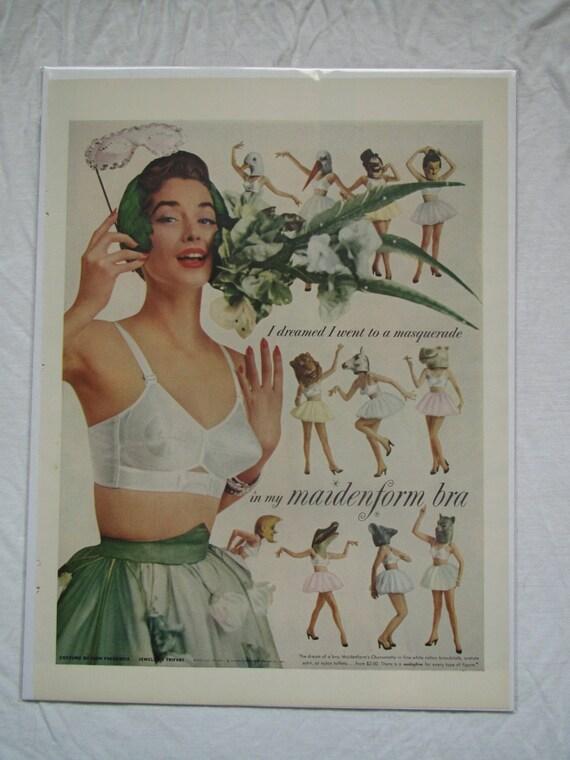vintage maidenform bra advertisement by theredmandala on etsy