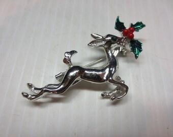 Vintage Christmas Reindeer Pin. Holiday Silver Tone Deer Brooch