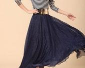 Chiffon Long Skirt-Spring Silk Skirt Maxi Dress Women Silk Skirt Summer Beach Skirt In Dark Blue-WH104 ,105cm
