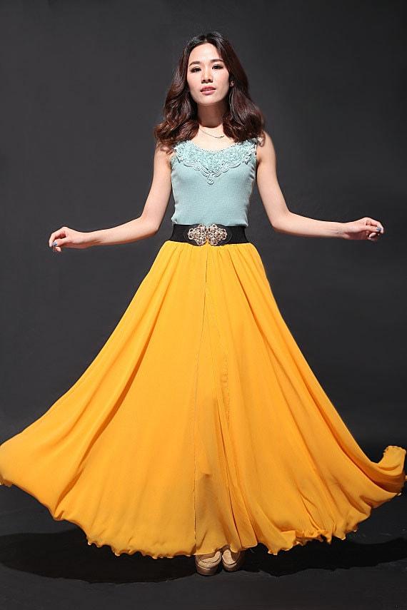Super long yellow maxi chiffon skirt wedding by dresstore2000 for Yellow maxi dress for wedding