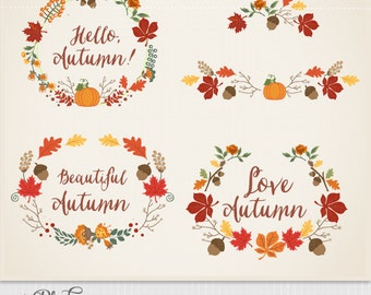Instant Download  Autumn frames. Digital clipart elements (scrapbooking, paper crafts, card making, wedding) EPS and PNG files