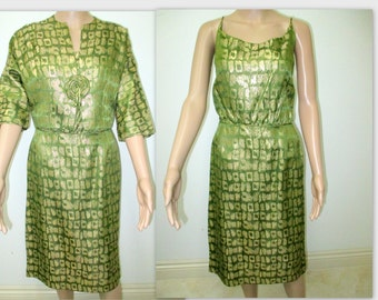 1960's Dress with jacket, by Mancini of California, Green & Gold Brocade 1960's Mad Men dress